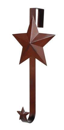 12.5In.H Tin Wreath Hangr W/Star Rusty