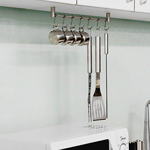Urevised Kitchen Rail Rack Wall Mounted Utensil Hanging Rack Stainless Steel Hanger Hooks for Kitchen Tools, Pot, Towel