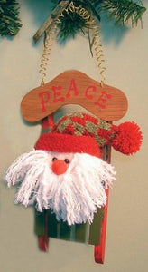 Santa on Wooden Sled Christmas Ornament Decoration - Peace Word on Sign(5430S)