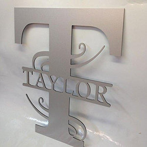 12 Personalized Aluminum Door Hanger Wall Fence Yard Sign Last Name & Initial
