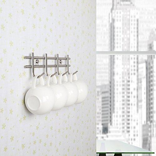 Urevised Wall Mounted Coat Rack Hooks - Heavy Duty Wall Hooks Rack Robe Hooks Metal Decorative Hook Rail - for Bathroom Kitchen Office Entryway Hallway Closet, Hooks, Brushed Finish