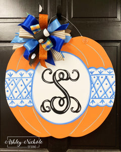Chinoiserie Pumpkin Door Hanger