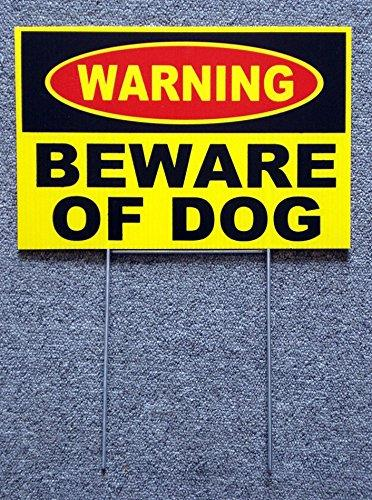 1 Set Heart-Stirring Unique Warning Beware Dog Yard Sign Surveillance Security Lawn Burglar Protect Poster Outdoor Neighbor Holder Door Hanger Fence Property Stakes Decor Size 8 X12  W/ Stake