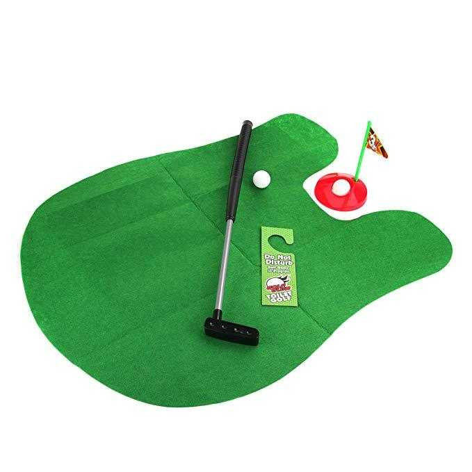 Toilet Golf  Mini Potty Putter Set Bathroom Game Mini Golf Set Golf Putting Novelty Set
