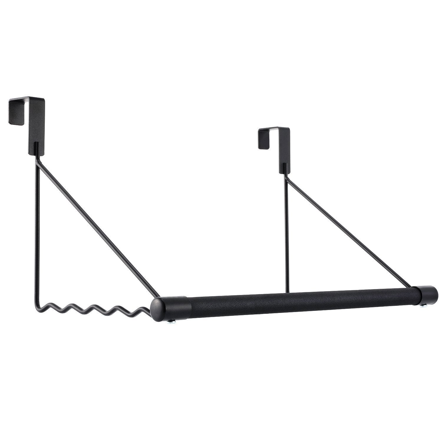 Magicfly Over The Door Closet Rod, Heavy-Duty Over The Door Hanger Rack with Hanging Bar for Coat, Towels Holder, Freshly Ironed Clothes, Black
