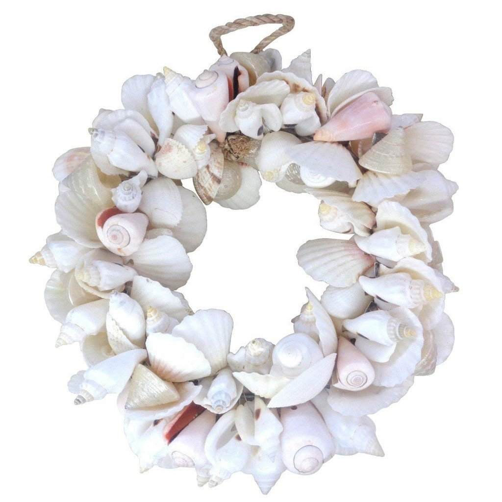 Natural White Mixed Shell Wreath 9.5 Outside Diameter