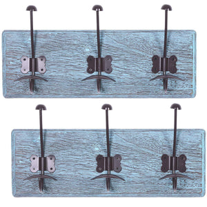 Rustic Wall Mounted Coat Rack with 3 Sturdy Hooks – Set of 2