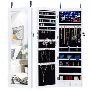 Homevibes Jewelry Cabinet Jewelry Armoire 6 LEDs Mirrored Makeup Lockable Door Wall Mounted Jewelry Organizer Hanging Storage Mirror with 2 Drawers, White