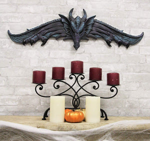 "Ebros Large 34.25""Wide Medieval Fantasy Midnight Blue Blood Overwatch Dragon With Open Wings Wall Decor Plaque Entrance Overdoor Pediment Door Hanger Dragons And Dungeons Halloween Wall Art Decorative"