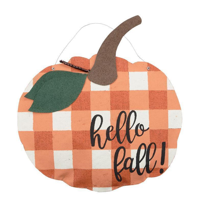 Hello Fall Pumpkin Burlap Door Hanger