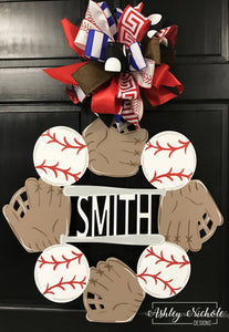 Baseball Monogram Name Door Hanger