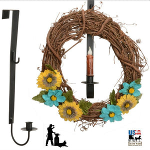WREATH HOOK & CANDLE HOLDER - Over the Door Wrought Iron Holiday Decor Hanger