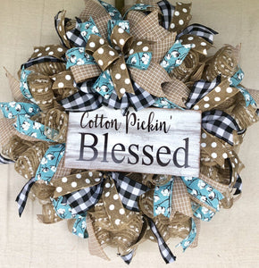 Cotton Pickin' Blessed Wreath | Rustic Everyday Wreath Decor | Front Door Decor | Door Hanger