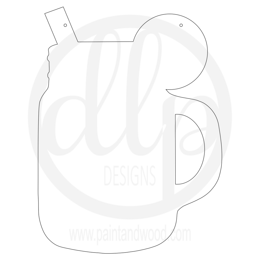 Mason Jar Mug Door Hanger - Unfinished