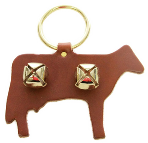 DOOR CHIME - LEATHER COW with SLEIGH BELLS in 4 Colors - Amish Handmade in USA