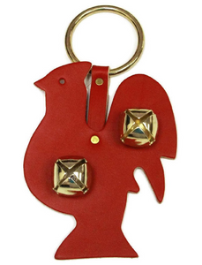 DOOR CHIME - LEATHER ROOSTER with SLEIGH BELLS in 4 Colors - Amish Handmade in USA