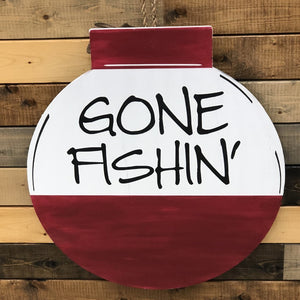 GONE FISHING BOBBER FLAT TOP CIRCLE: DOOR HANGER DESIGN