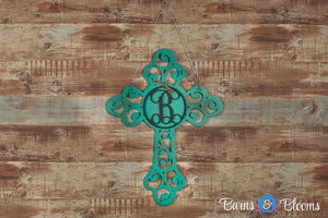 Monogram Door Hanger Cross in Teal, Cream or Red