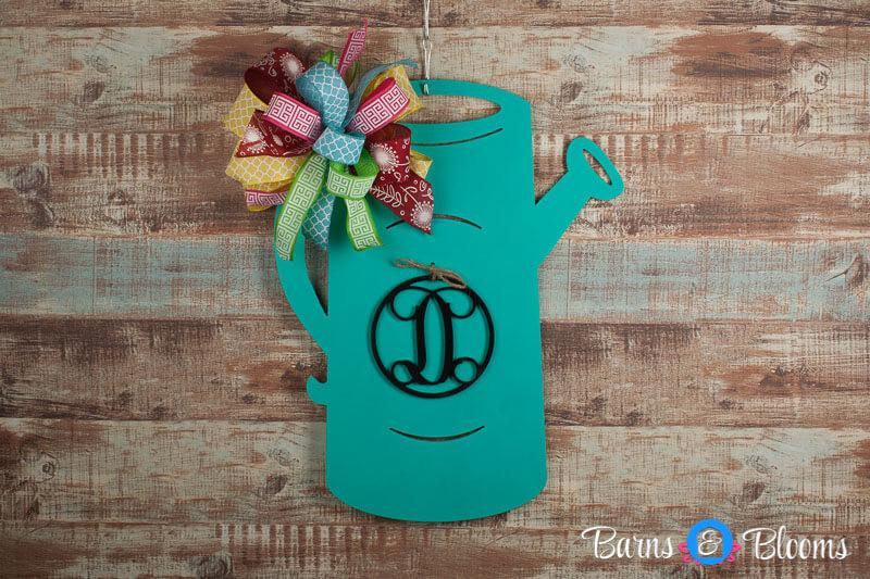 Teal Watering Can Monogram Door Hanger with Bow