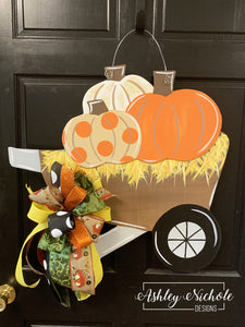 Wheelbarrow with Pumpkins Door Hanger