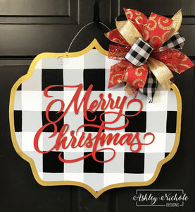Buffalo Check Plaque Merry Christmas - Door Hanger