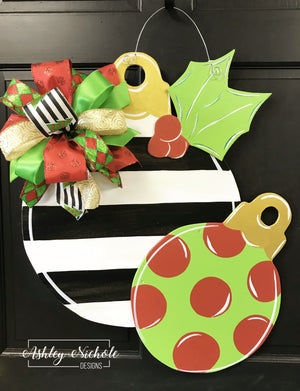 Double Ornament - Black Stripe, Red & Green - Door Hanger