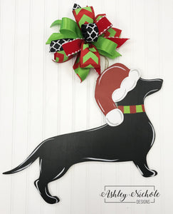 Dog or Cat CHRISTMAS Silhouette Door Hanger with Santa Hat