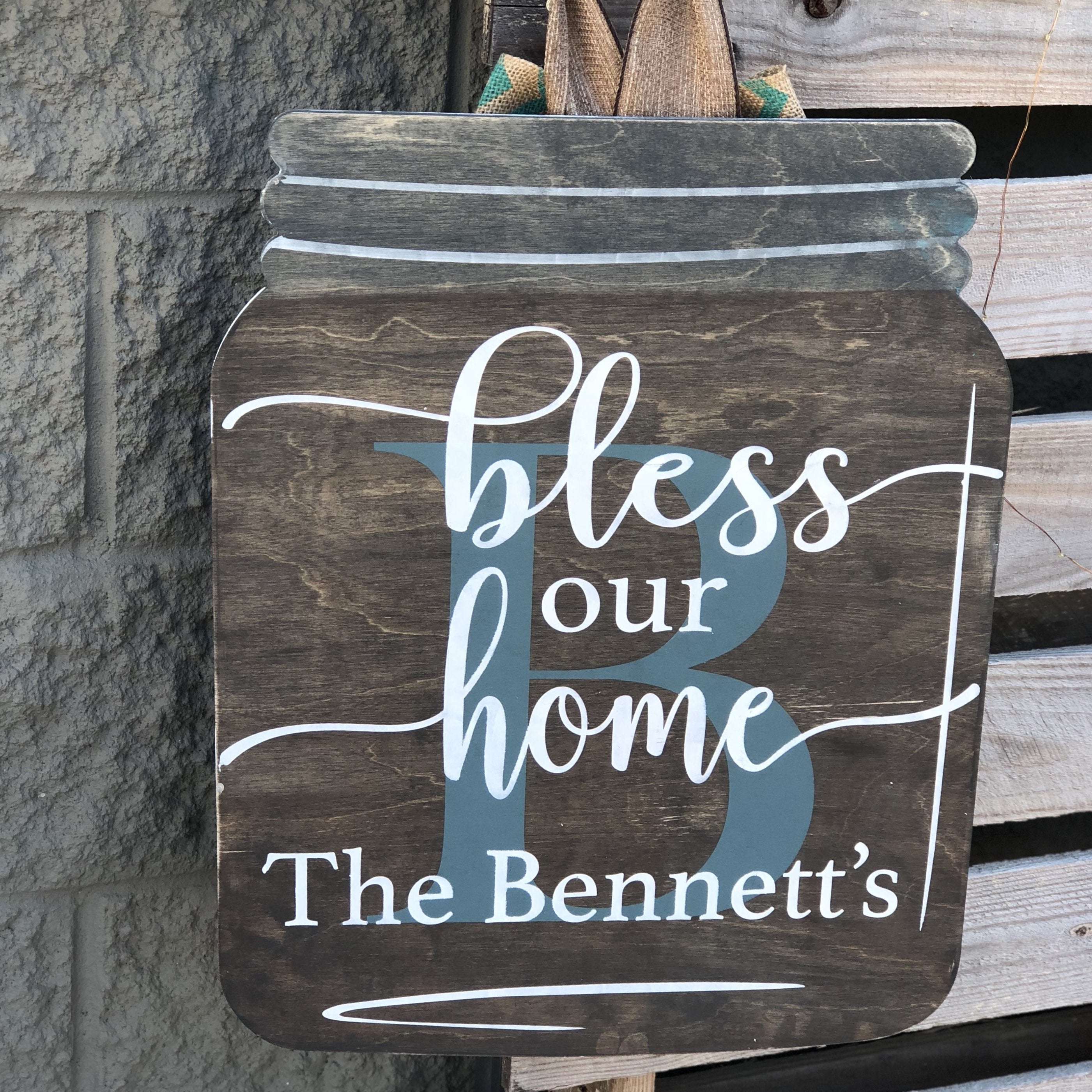 BLESS OUR HOME PERSONALIZED MASON JAR: DOOR HANGER DESIGN