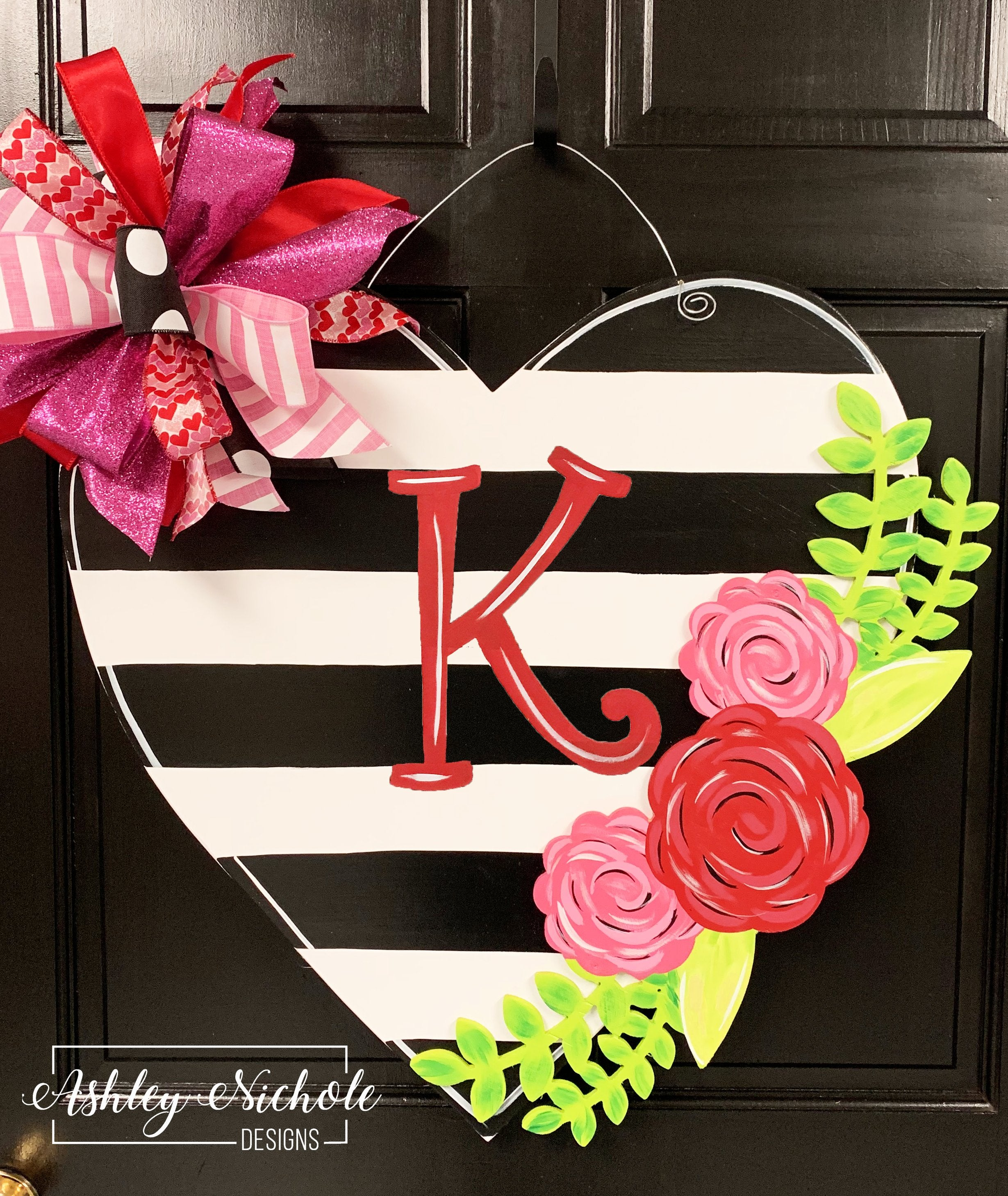 Black Stripe Heart with Floral Overlay Door Hanger