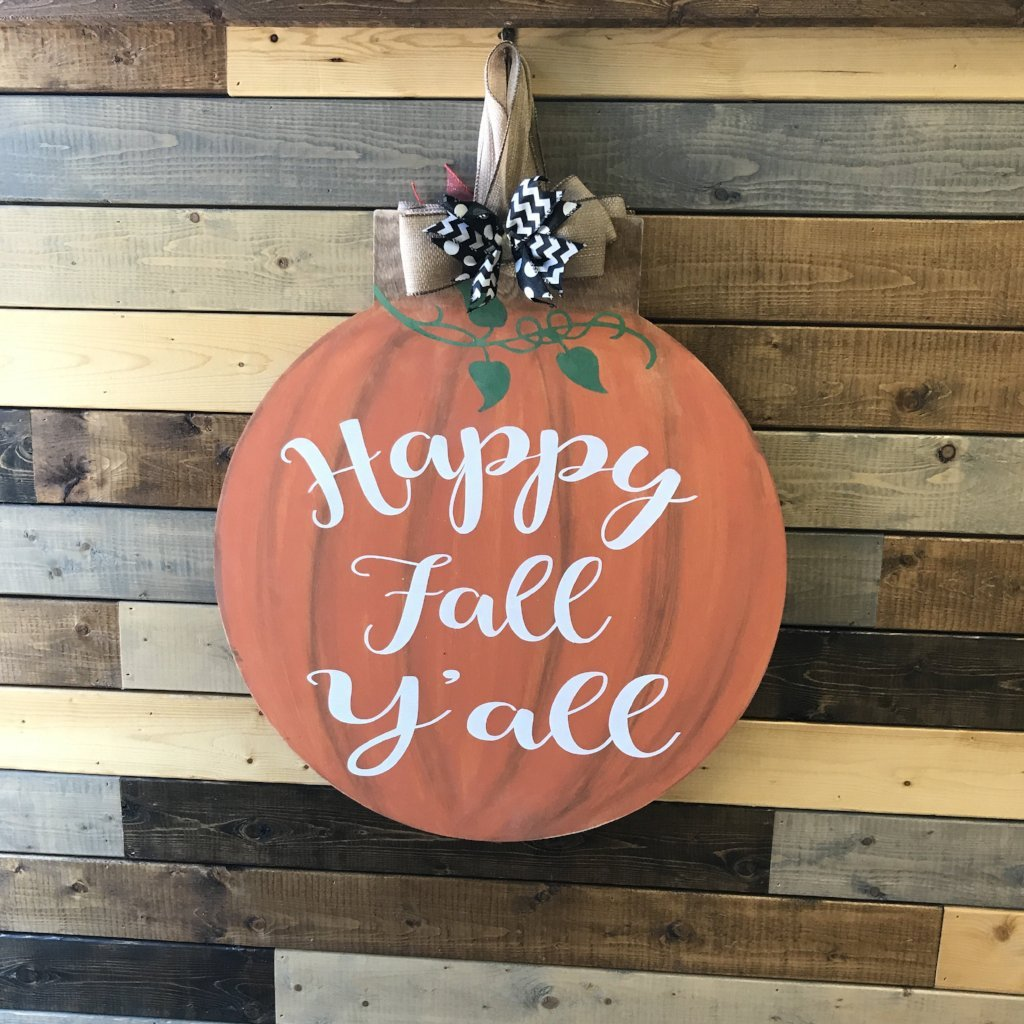 HAPPY FALL Y'ALL FLAT TOP CIRCLE: DOOR HANGER DESIGN