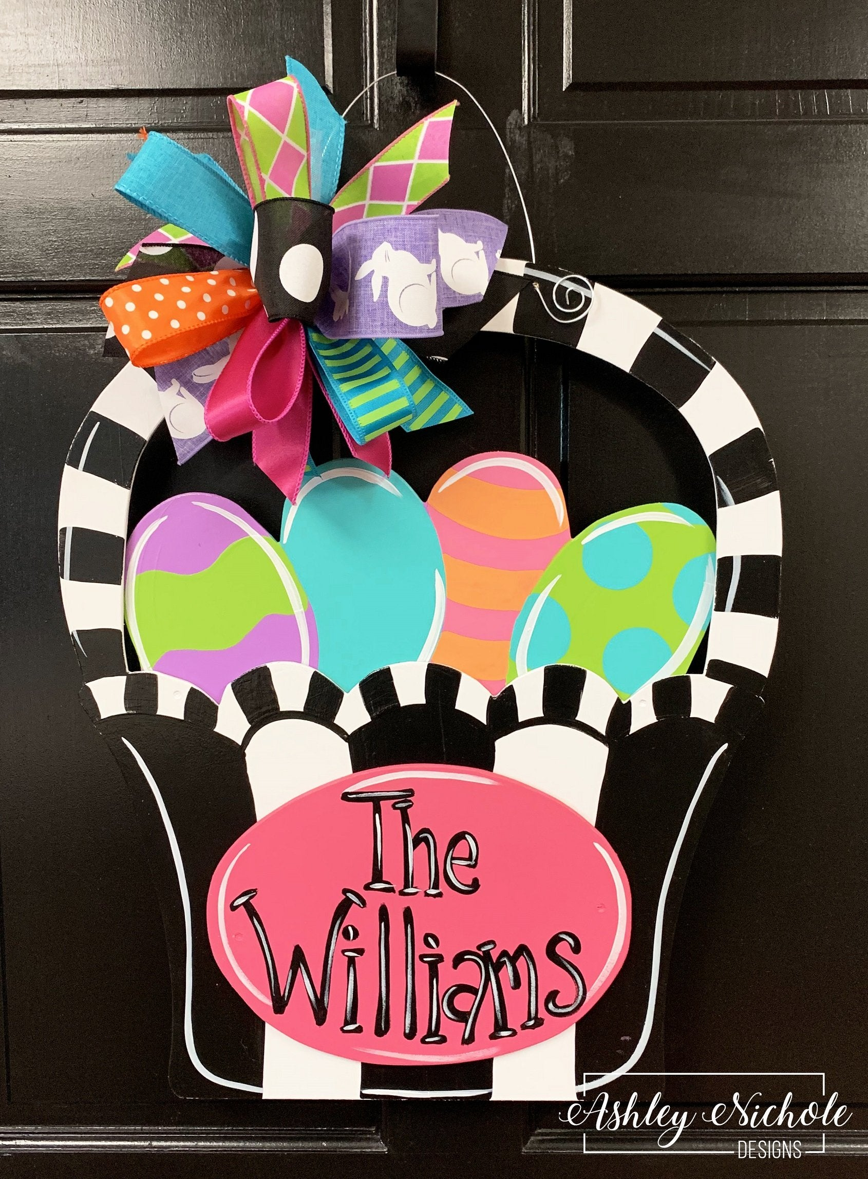 Easter Basket - COLORFUL & FUNKY - Door Hanger