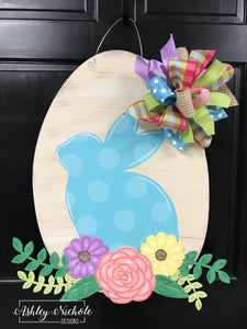 Bunny - Floral and Laurel - Door Hanger