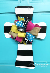 Black and White Striped - Cross - Door Hanger