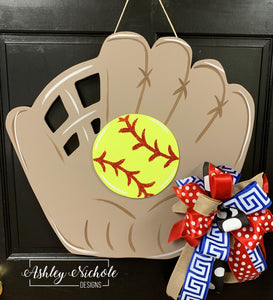 Softball Glove and Ball Door Hanger