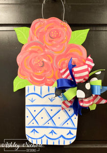 Chinoiserie Flower Pot Door Hanger