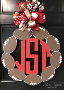 Football 3-Letter Monogram Door Hanger