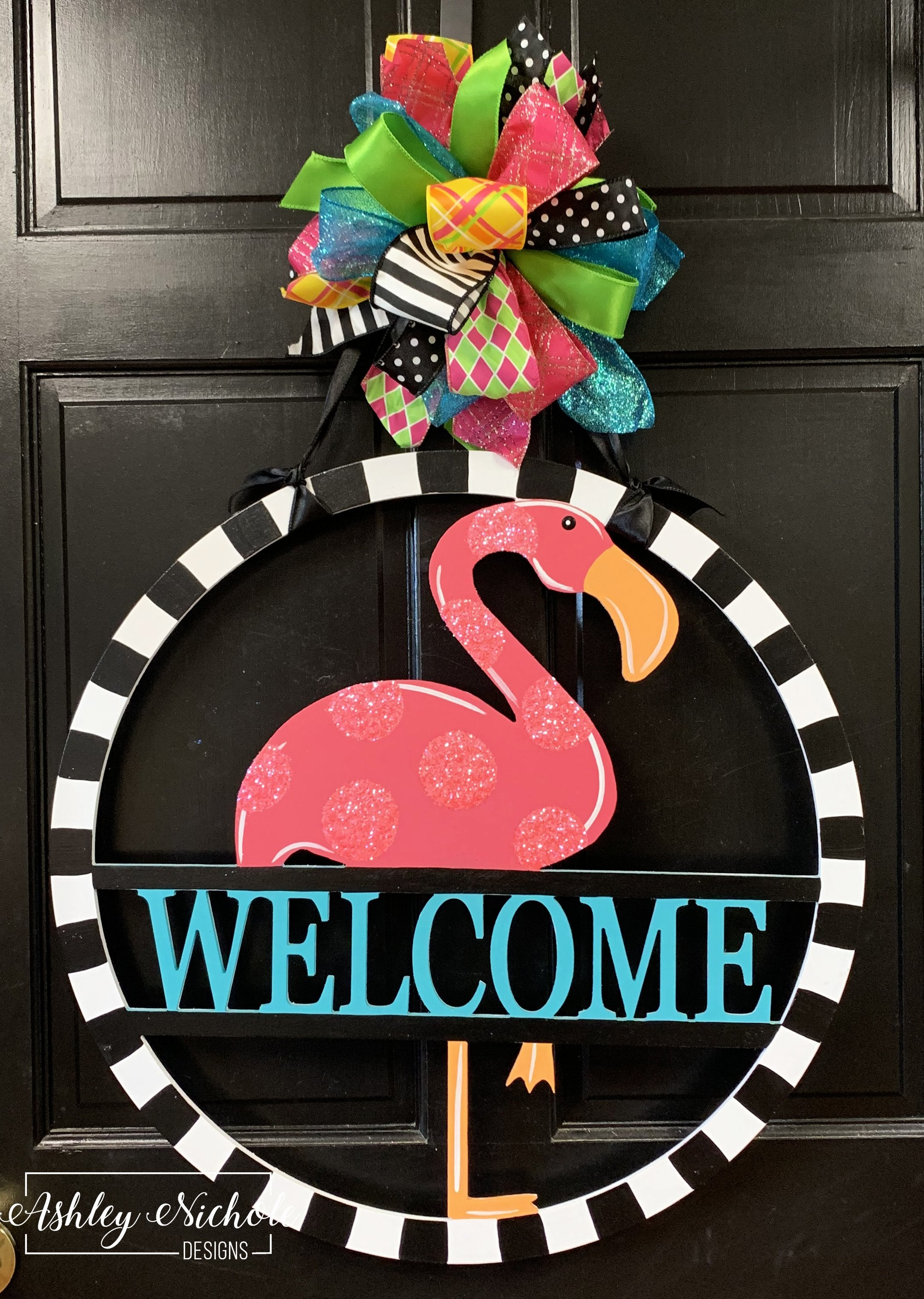Flamingo Name Monogram Door Hanger