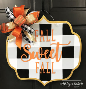 Buffalo Check Plaque Fall Sweet Fall - Door Hanger