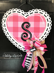 Buffalo Check and Lace Pink Heart Door Hanger