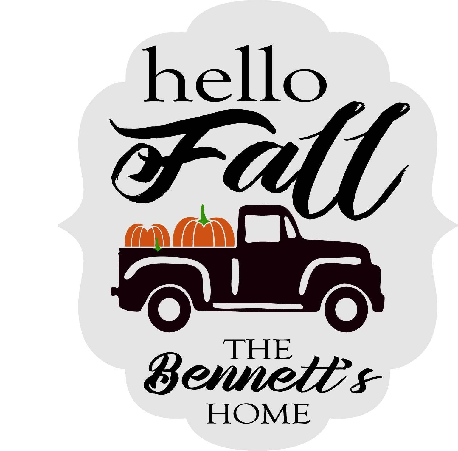 PUMPKIN TRUCK FALL PERSONALIZED: DOOR HANGER DESIGN