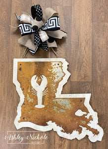 Rustic Louisiana Crawfish Door Hanger