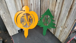 Combo Pumpkin and Tree Monogram yard ornament stake or door hanger with initial - Advanced Metal Art