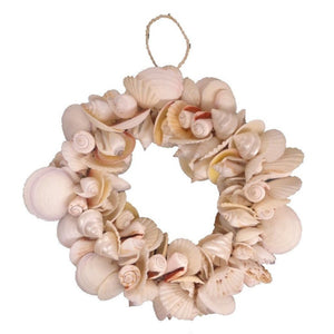Heavy Full Quality Mixed Natural Shell Wreath 9 Inch