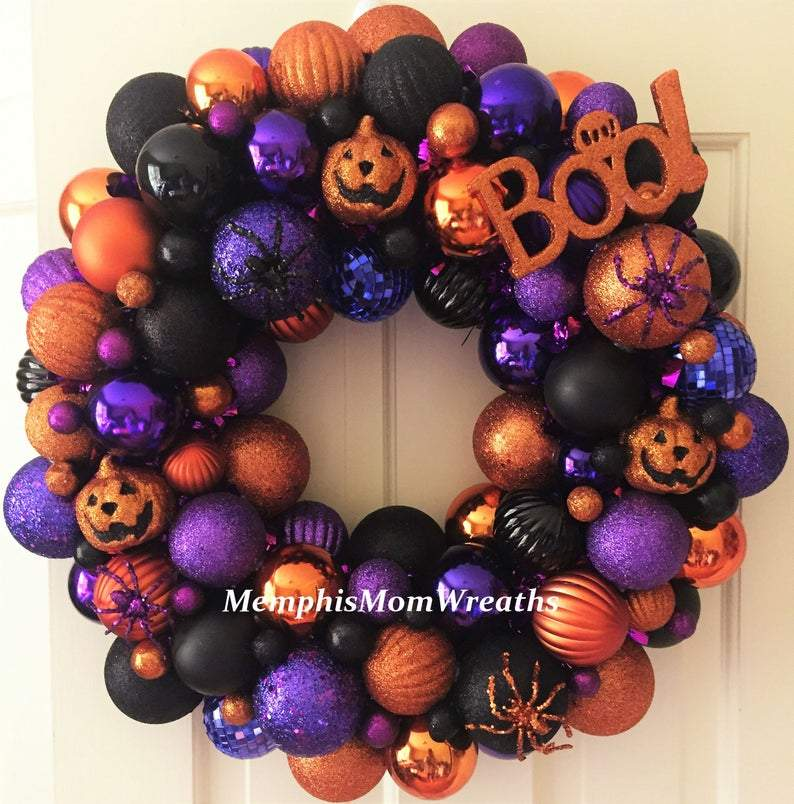 Halloween Ornament Wreath, Boo Wreath, Halloween Decorations, Door Hanger, Front Door Wreath, Halloween Decor