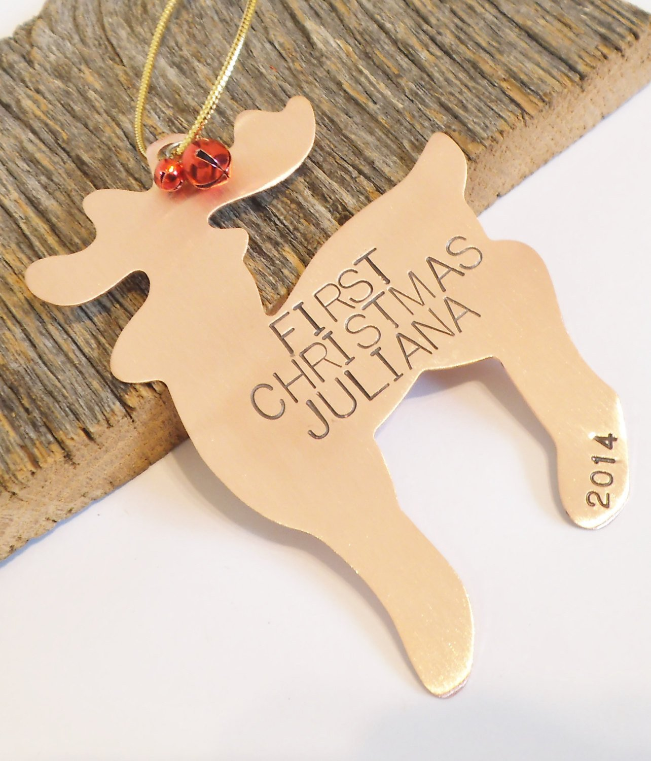 Copper Ornament Reindeer Ornament Holiday Home Decor Child's First Christmas Door Hanger Baby Announcement Wildlife Ornament Animal Ornament