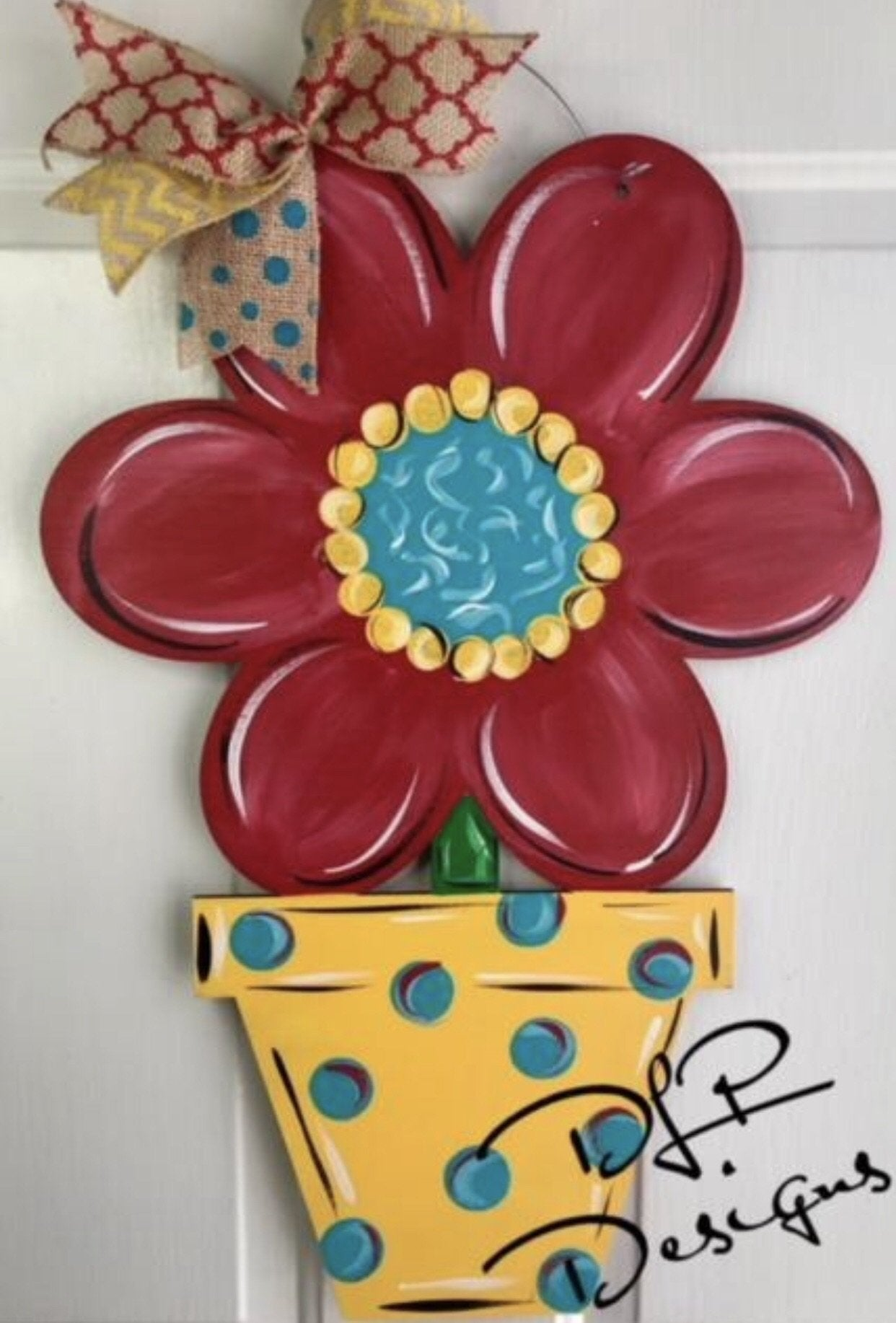 Initial Flower Pot Door Hanger - Unfinished