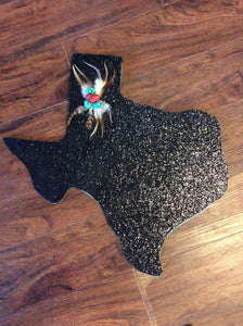 Black Glitter Texas Door Hanger