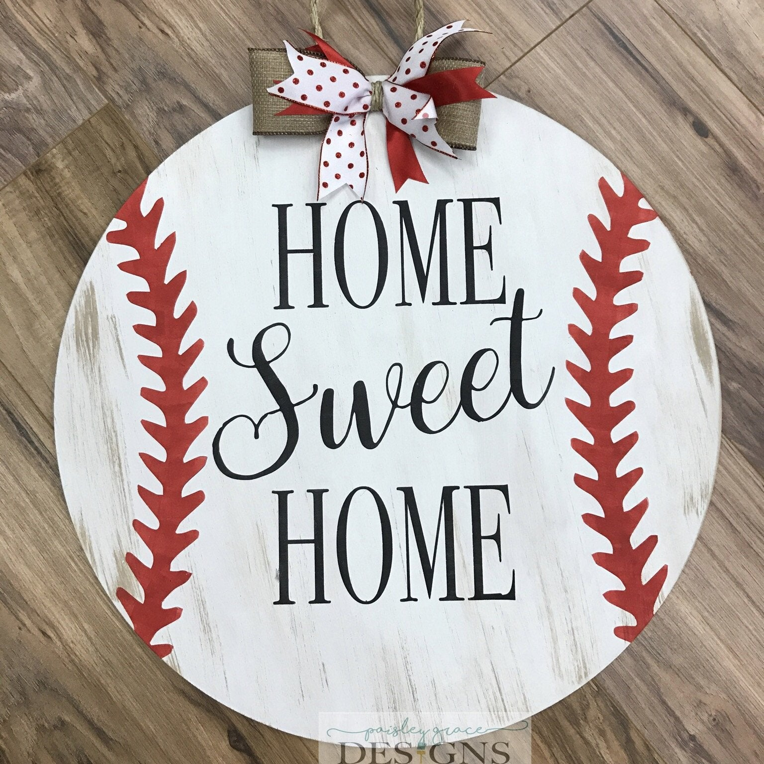 HOME SWEET HOME BASEBALL FLAT TOP CIRCLE: DOOR HANGER DESIGN
