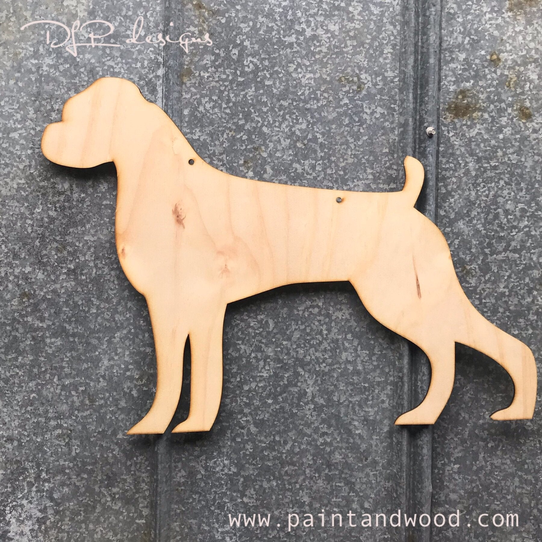 Boxer Dog Door Hanger - Unfinished