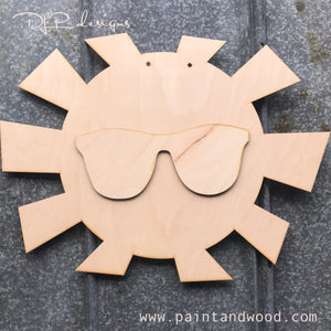Sunshine with Sunglasses Door Hanger - Unfinished